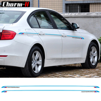 2pcs Tricolor Waist Line Racing Side Stripe Vinyl Decal Sticker M3 Style for BMW 3 Series F30 F31 F34 E90 E91 E92 E93 2013 2018