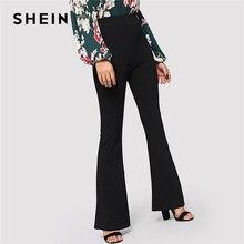 SHEIN Black Elegant Office Lady Elastic เอว Flare Hem กางเกงสบายๆ Minimalist กางเกง 2019 ฤดูใบไม้ผลิผู้หญิงกางเกงกางเกง