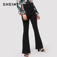 SHEIN Schwarz Elegante Büro Dame Elastische Taille Flare Saum Hosen Casual Solide Minimalistischen Hosen 2019 Frühling Frauen Hosen Hosen