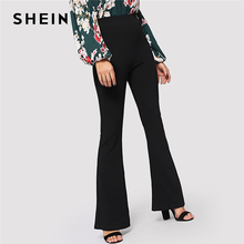 SHEIN noir élégant bureau dame taille élastique Flare ourlet pantalon décontracté solide minimaliste pantalon 2019 printemps femmes pantalon
