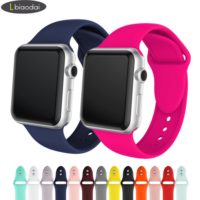Silicone Strap For Apple Watch Band 42mm 38mm IWatch 4 Band 44mm 40mm Bracelet Belt Correa Strap Apple Watch 5 4 3 2 Accessories