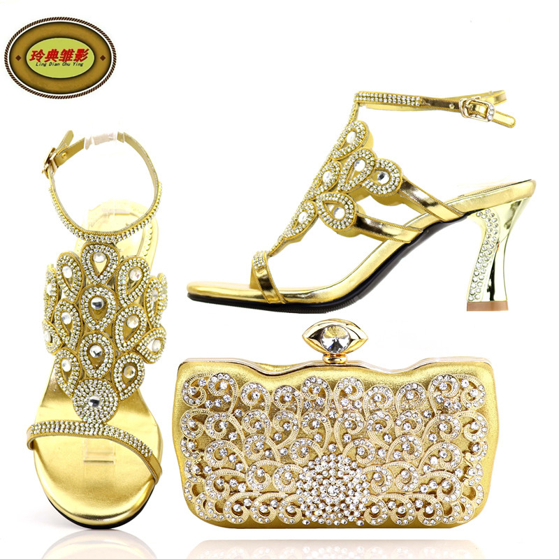 YH0547 Gold High Heels Shoe and Bag Set for Wedding Party Italian Matching Shoes and Bag Set for Wedding Decorated with Rhinesto th16 38 gold free shipping high quality lady italian matching shoes and bag set for wedding and party in wholesale price