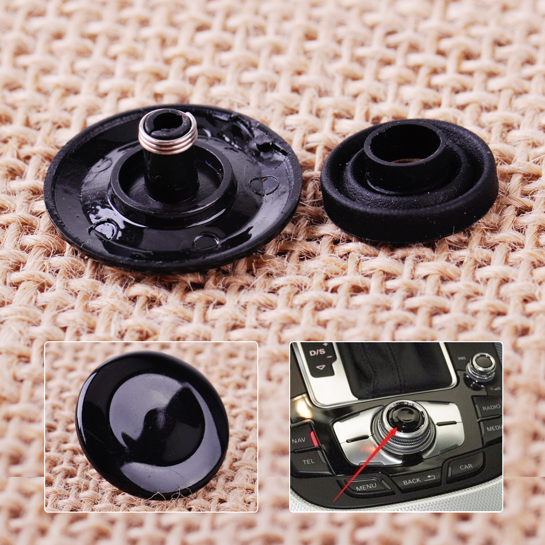 DWCX Car Bright Black MMI Knob Joystick Button Repair Kit 8K0998068A 8K0998068 for <font><b>Audi</b></font> A4 Q7 S4 A5 <font><b>A6</b></font> Q5 S6 image