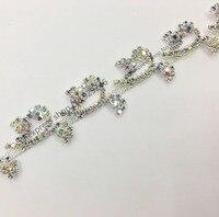 free shipping 1 yard cute sunflower AB crystal rhinestone chain trims for bridal wedding dress decoration fashion garment stones