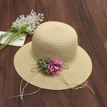 4a8b087ed1247 Bohemian Wide Brim Summer Sun Hats For Women Raffia Rope With Flower Straw  Hats