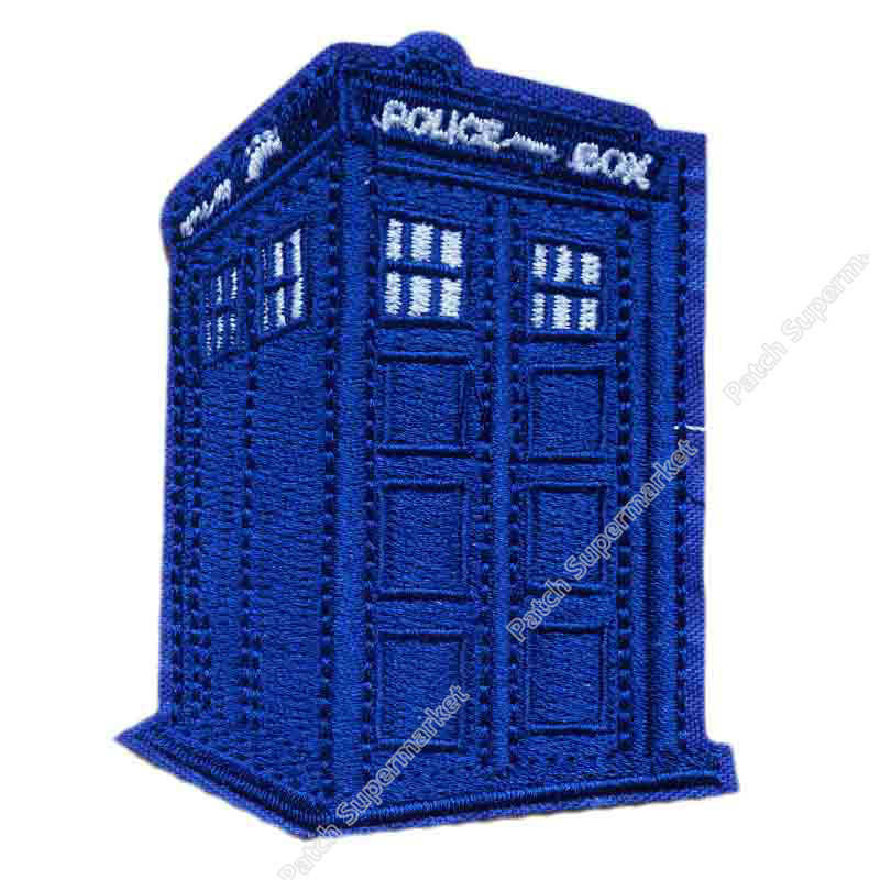 """Doctor Who TARDIS Police Box with Name Banner 3/"""" Diameter Embroidered PATCH"""