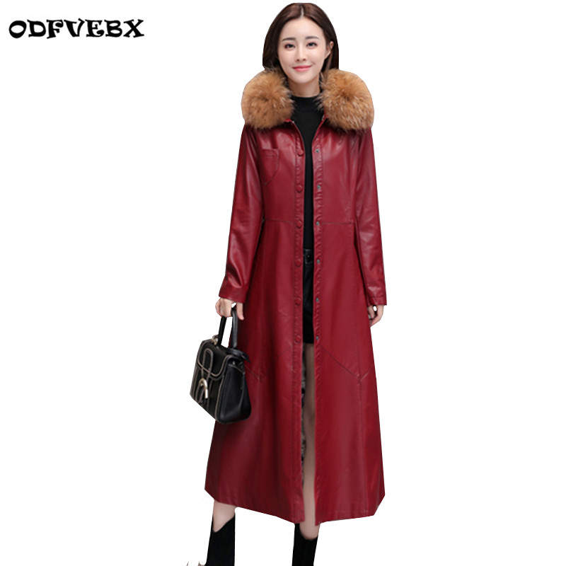 plus size autumn and winter   leather   windbreaker casaco feminino coat2018long motorcycle jacket Slim women's   leather   coat female
