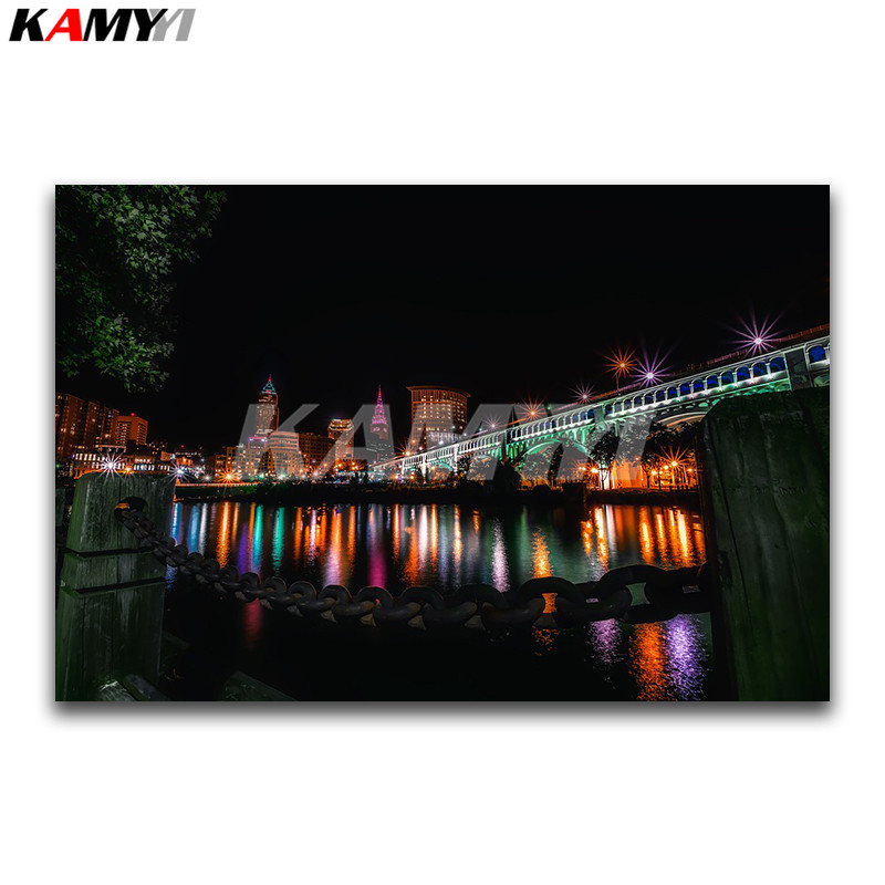 DIY 3D Diamond painting scenery Full Diamond mosaic Night city Full Square Diamond embroidery Cross stitch Color light