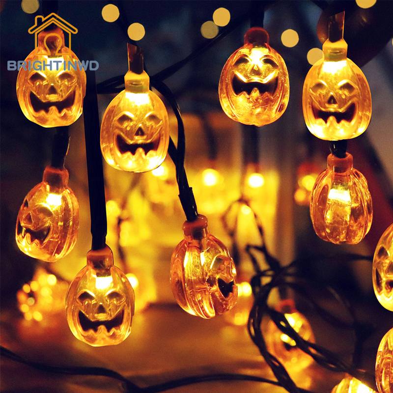 Solar Light String Outdoor 30LED Pumpkin Grimace Halloween Garden Decorative Lighting Waterproof