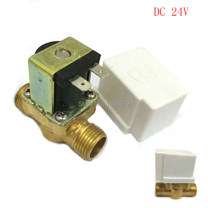 EBOWAN 24V DC electric Solenoid Valve 1/2 normally closed ,Copper body water valve ,have filter 4v series 24v dc solenoid valve