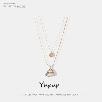 0eb1296b8f51 Yhpup elegante México Natural minimalista de doble capa colgante de collar  Vintage encanto para las mujeres fiesta de verano playa de joyería 2019