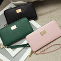 New Women Long Purse Clamp Clip for Money PU Leather Press Stud Closure Portfolios Female Candy Color Wallet Card Holder