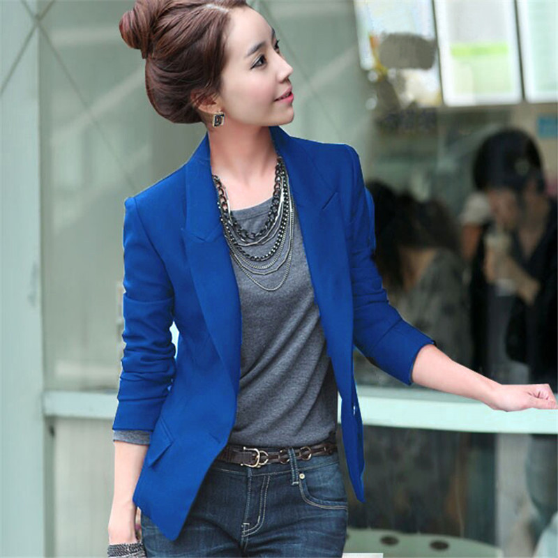 Women Jacket Fashion Spring Coat Slim Suit Outerwear Blazer Jacket One Button Coat 3 Colors Women Blazer Feminino Tops TT3376 1