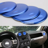 4pcs Interior Accessories for Jeep Compass Patriot 2011 2016 Console Dashboard Air conditioning Outlet Vent Trim Cover Sticker