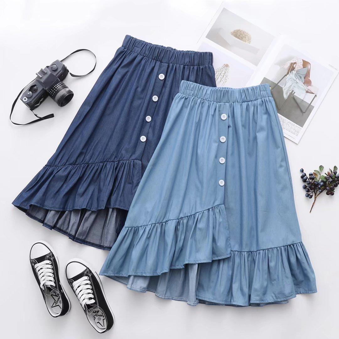 New Japanese Female Sweet Beautiful Woman Skirt Pure Color Irregular Hem Denim Skirt Single Breast All-match Student Girl Skirt