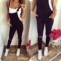Mulheres da queda do outono moda casual bolso longo denim jean Jumpsuit Romper geral preto backless abrir voltar oco out bodysuit 911