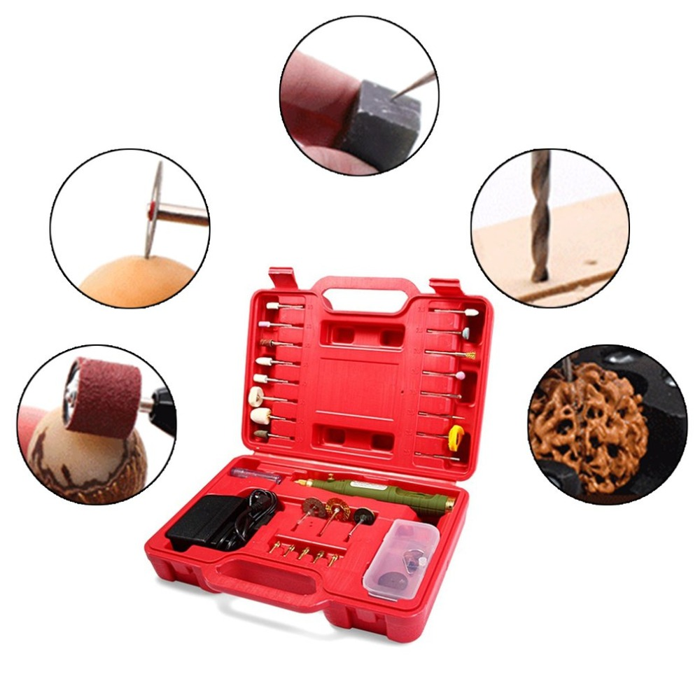 Mini Electric Drill Multifunction Grinder Set Power Adapter Micro-drilling Tool Kit with Carry Case WL-800 For Carving Painting wlxy wl 6869 30w multifunction mini electronic drills set silver