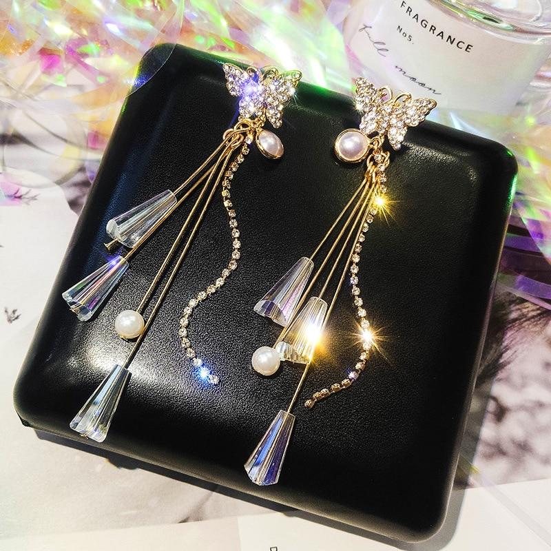 2019 New Fashion Alloy Trendy Animal Women Dangle Earrings Butterfly Long Tassel Earrings Female Korean Personality Jewelry