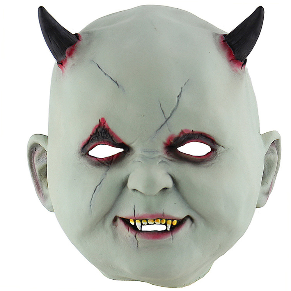Cosplay little devil vampire horror latex mask halloween carnival party room escape props hood mask