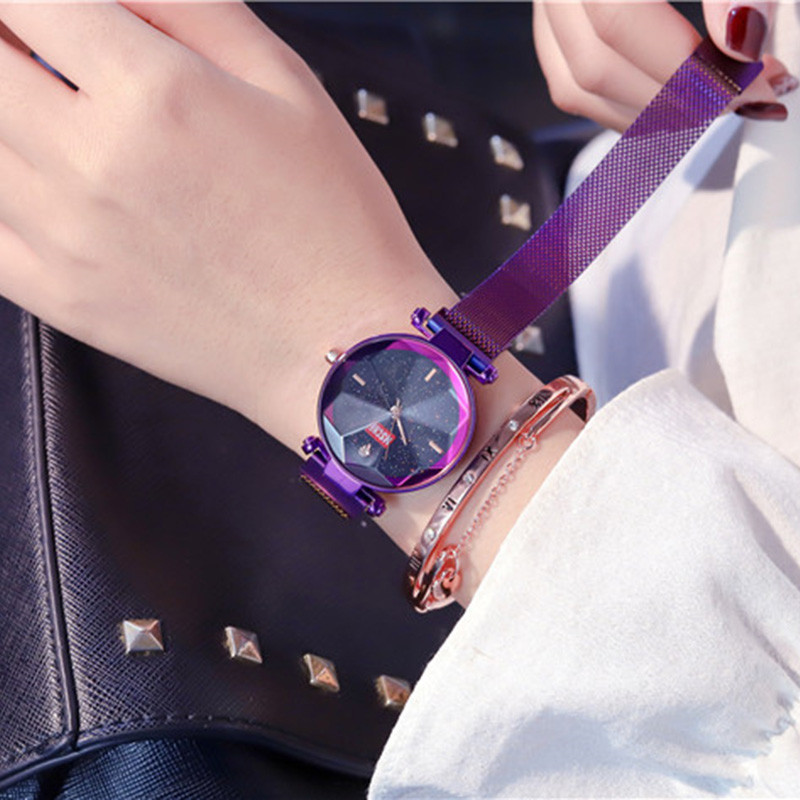 Starry Sky Women Luxury/ Fashion Watches Elegant Magnet Bracelet Clasp Purple Ladies dress Wristwatch 2019 for Gifts Clock