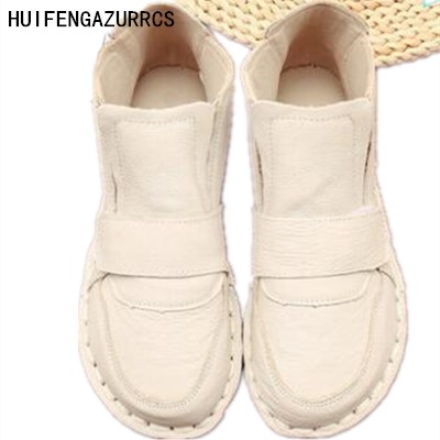 HUIFENGAZURRCS-pure handmade shoes,the retro art mori girl Flats shoes, new winter real leather soft bottom lady boots,3 colors huifengazurrcs 2018 new spring mori girl soft bottom leisure shoes genuine leather handmade shoes japanese retro shoes 4 colors