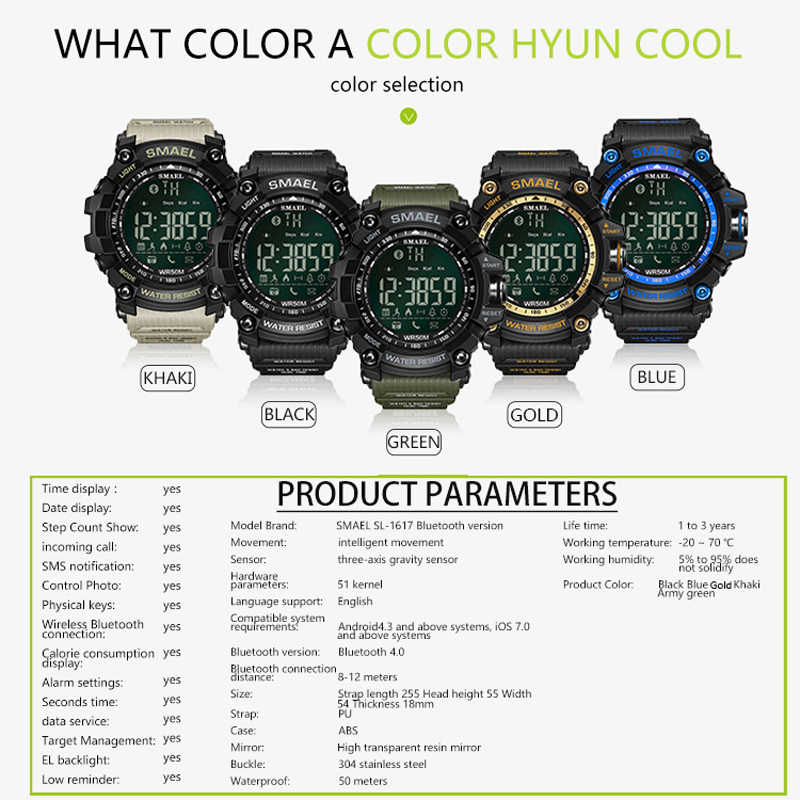 SMAEL-montre à chronographe pour hommes, montre de Sport pour hommes, horloge Stop, militaire, multifonction, LED étanche numérique