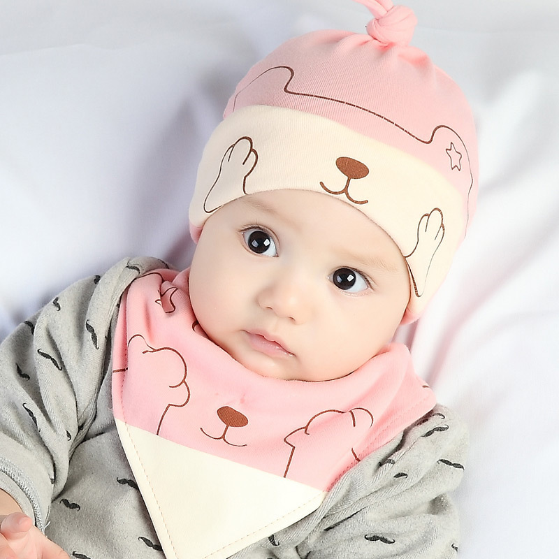 Cat Toddler Hats Kids Bibs Set Baby Hat Cotton bebe Soft Warm Child Kitty Baby Boys Girls photography props 2-12M 2 pcs / set брюки jennyfer jennyfer je008ewnyb21