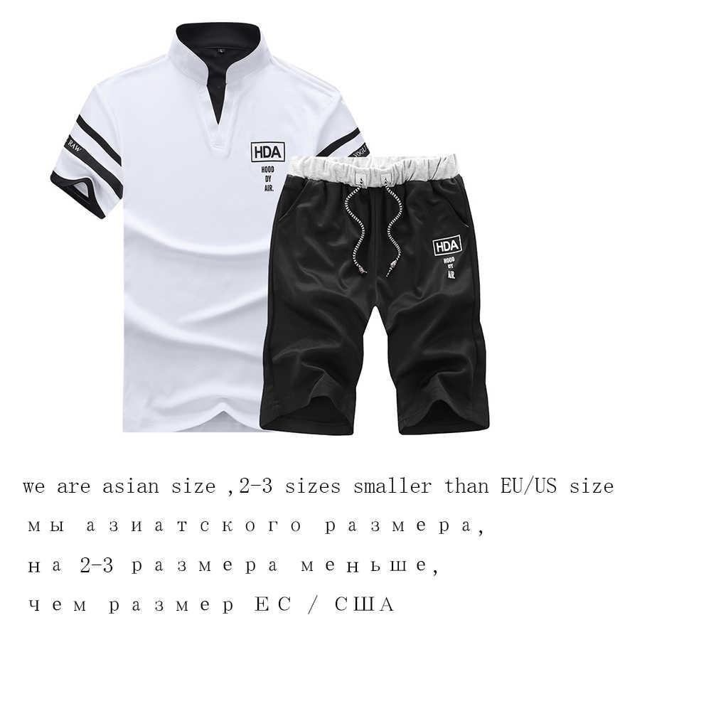 2019 ファッション夏メンズセットスポーツスーツ半袖 Tシャツ + ショーツ速乾性 2 個セットカジュアル男性トラックスーツ服