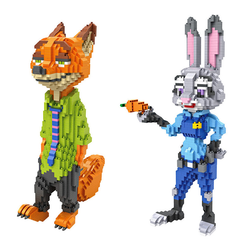 Hot America 3D cartoon movie Zootopia LOZ mini diamond building block Judy Hopps Rabbit Nick Fox nanoblock model educational toy mini qute full set 2 pcs lot hc zootopia huge nick wilde judy hopps plastic building block cartoon model educational toy no 9011