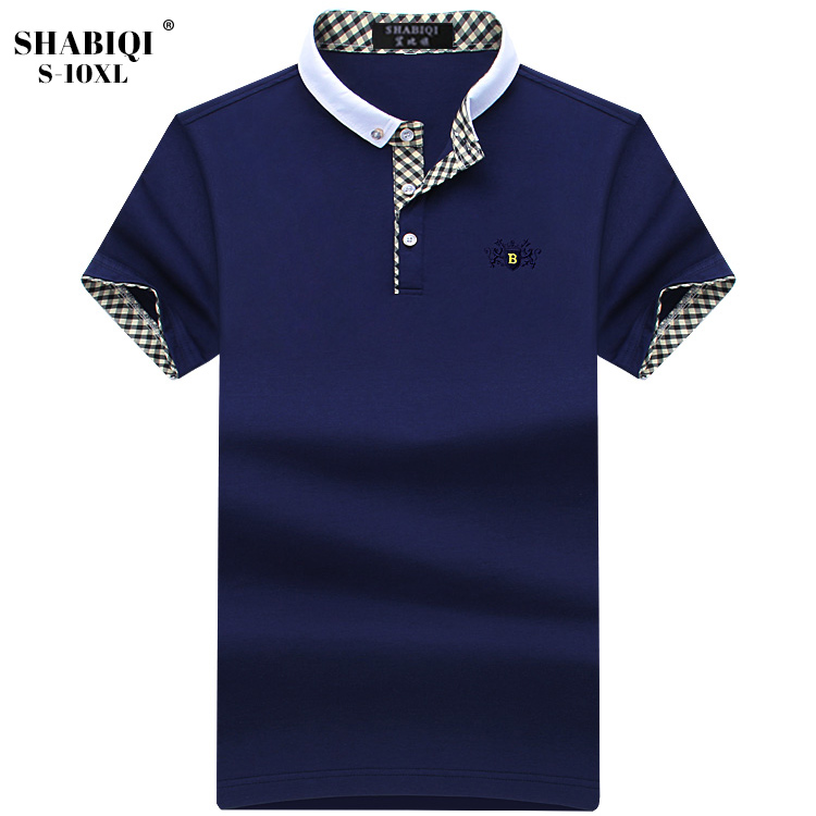 6ca53983a SHABIQI Plus Size S-10XL New Brand Polo Shirt Men Cotton Breathable Short Sleeve  Shirt Polo Casual Stand Collar Men Polos 5XL