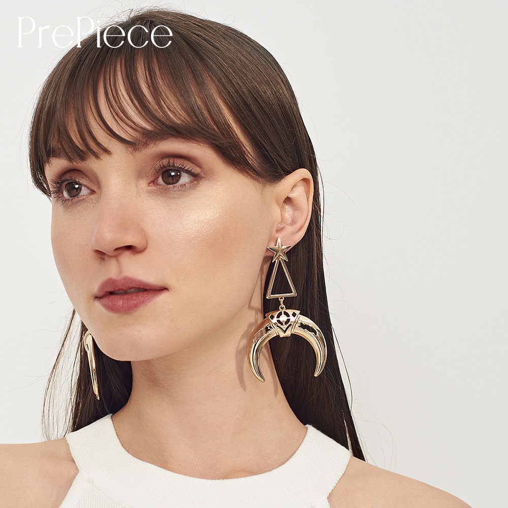 Trendy Daily News: PrePiece Alloy Geometric Earring Exaggerated Horn Moon