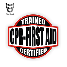 EARLFAMILY 12cm x 10.7cm CPR First Aid Trained   Certified Hard Hat Decal  Helmet Sticker ded2d4863660
