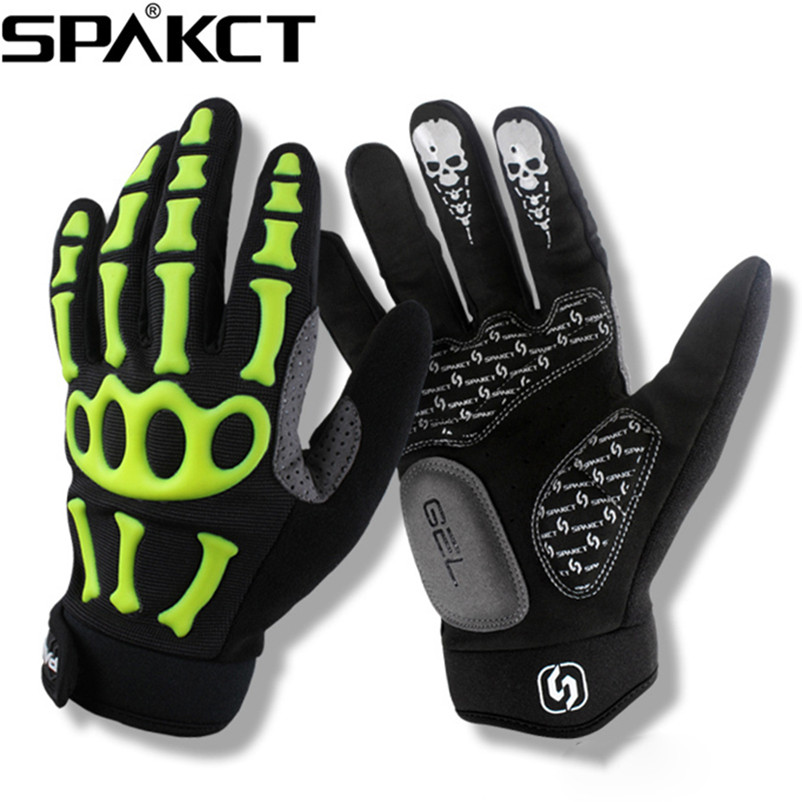 цена на SPAKCT Cycling Gloves Full Finger Skull Gel Pads Bike Bicycle Gloves Motorcycle Sports Downhill Racing Long Gloves Unisex