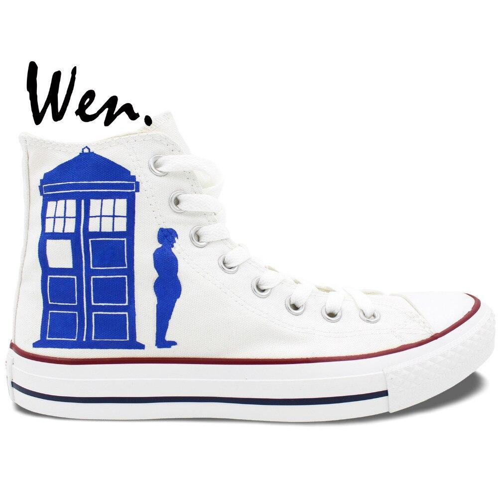 Prix pour Wen Peint À La Main Sheos Custom Design Blanc Sneakers Médecin Qui gardez Le Calme Et Ne pas Blink Hommes Femmes High Top Toile Sneakers