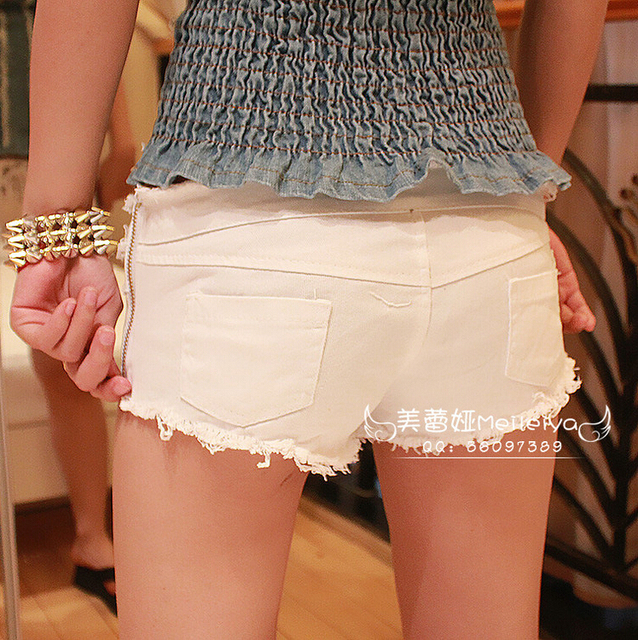 2015 Summer New Hot Ladies Sexy Club Bandage Zipper Super short Feminino Knickers mini disco Mujer denim jeans Low Waist shorts 6