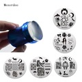 Jumbo XL 3.8cm Clear Jelly Silicone Nail Art Stamper Scraper Set+10 Pcs 5.5cm Flower Style Round Nail Art Stamp Image Plates