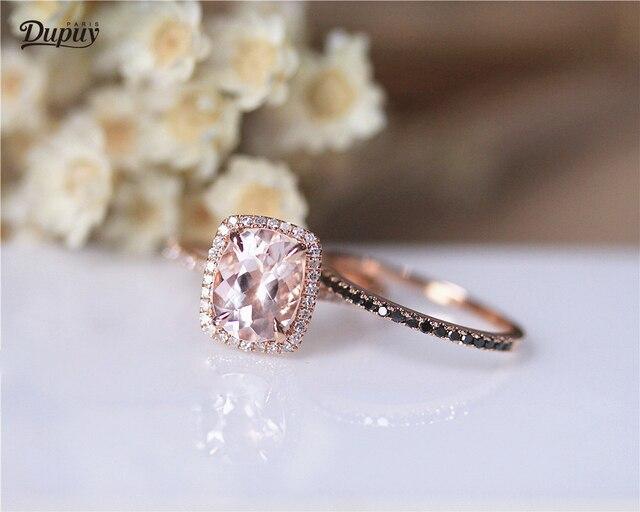 Dupuy Natural 7 9mm Oval Cut Morganite Ring Set Dainty Half Eternity Black Diamond Wedding