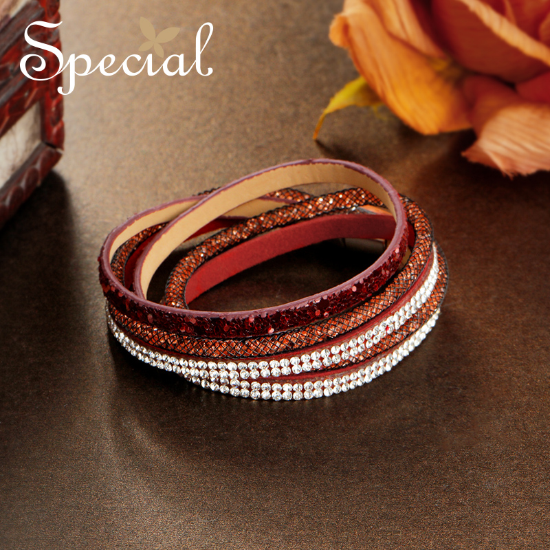 Special Fashion Multi-layer Bracelets & Bangles PU Leather Choker Necklace Strand Bangles Crystal Jewelry Gifts for Women S1745C