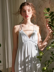 Image 5 - Summer Vintage Viscose Sleepwear Elegant Female Princess White Cotton Nightgowns Sleeveless Sexy Lingerie