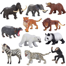 11pcs/set  wild animals large solid  toy plastic  panda  bear   zebra  model boy gift,