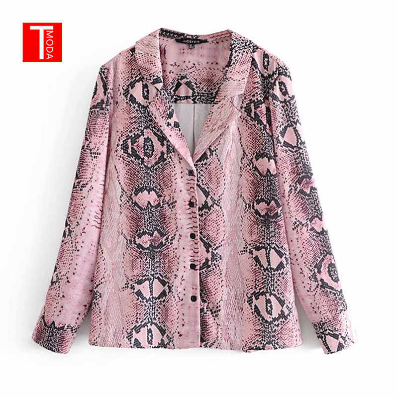 2018 Women Pink Snake Skin Print Blouse Animal Pattern Long Sleeve Pleated  Shirts Vintage Female Casual 8221b098c