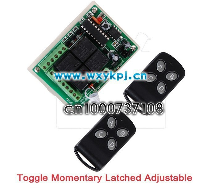Free shipping DC12V 4 channel RF remote control switch / 315mhz./433mhz transmitter and receiver electric switch free shipping 6 way m62446 5 1 channel volume remote control preamplifier kit for dc motor use
