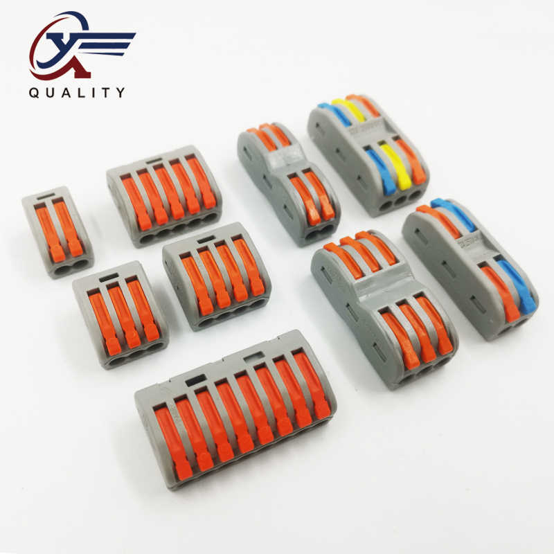 2/10/20Pcs Compact Wire Bedrading Connector PCT-222 212/213/215 Universele Dirigent Terminal Block threader Splitter SPL-2/SPL-3