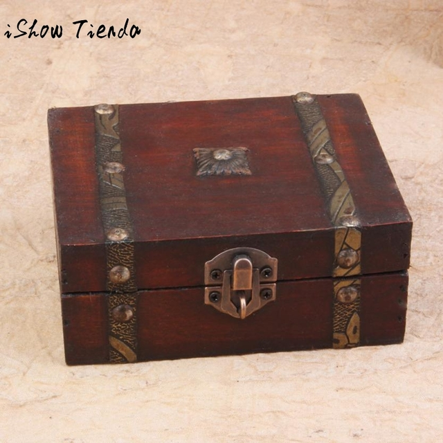 Stylish Vintage Metal Lock Decorative Trinket Jewelry Storage Box Handmade Classical Wooden Treasure Case storage box & Stylish Vintage Metal Lock Decorative Trinket Jewelry Storage Box ...