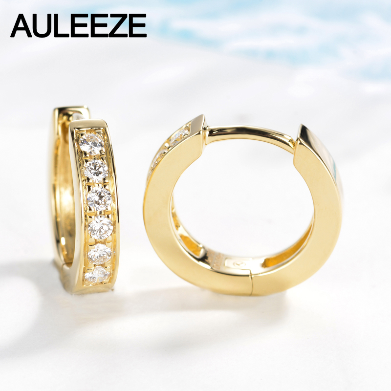 Auleeze Genuine Natural Real Diamond G Si Wedding Earrings Clic 18k Solid Rose Gold Hoop For Women Fine Jewelry In From