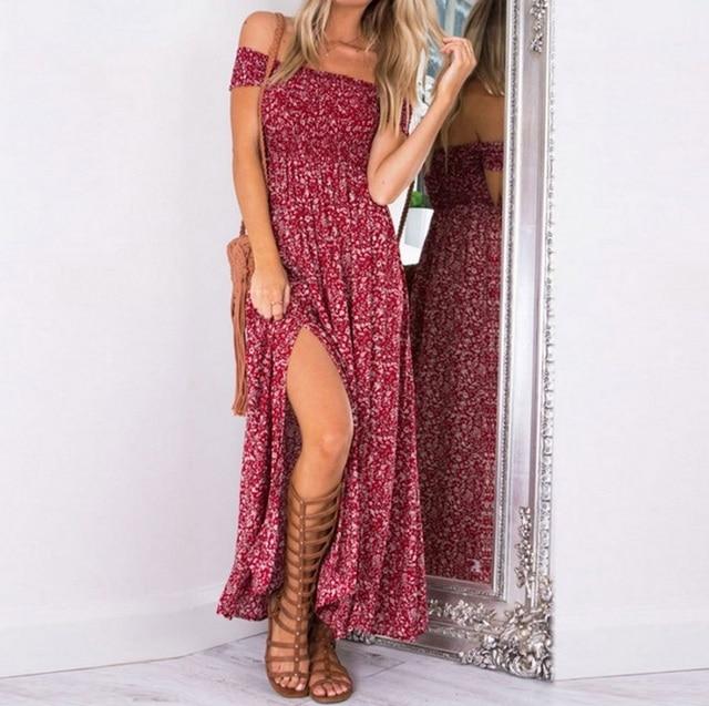 off the shoulder light print long dress with knee-split 1