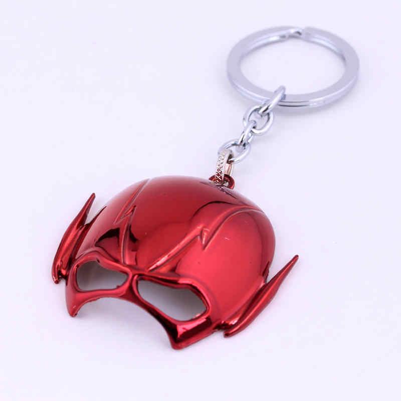 MQCHUN DC コミックスジャス赤フラッシュマスクキーホルダーメタルキーチェーンペンダントため男の男の子女性ホルダーお土産