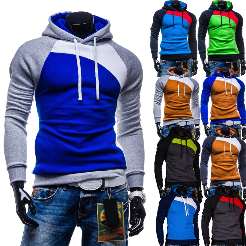 Free Shipping Men's Fashion Casual Men Jacket Stitching Design High-quality Casual Hooded Sweatshirt Size M-xxl