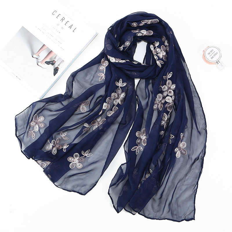 Spring Summer Faux Silk Embroidered Female   Scarf   Pearl Breathable Long Shawl Islamic Muslim Women Hijab Turban   Wrap