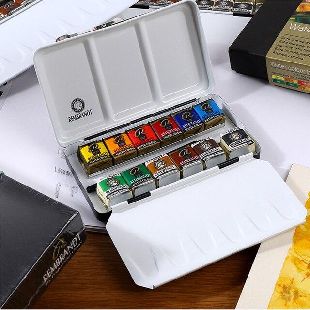 Рембрандт 12/24/48 Цвета одноцветное акварельные краски в наборе Металл Deluxe половину кастрюли Акварельная краска пигмент карман комплект, при...